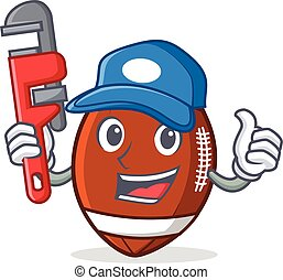 Plumber American football character cartoon
