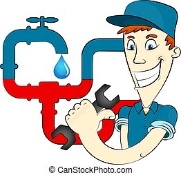 Plumber and water pipes