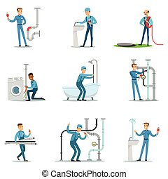 Plumber And Water Supply Plumbing Specialist At Work Doing Repairs Set Of Cartoon Character Scenes