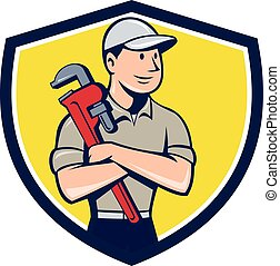 Plumber Arms Crossed Crest Cartoon - Illustration of a...