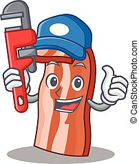 Plumber bacon mascot cartoon style vector illustration