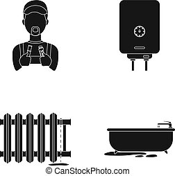 Plumber, boiler and other equipment.Plumbing set collection icons in black style vector symbol stock illustration web.