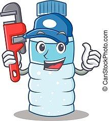 Plumber bottle character cartoon style