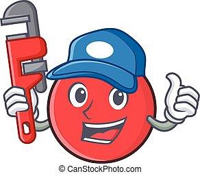Plumber bowling ball character cartoon
