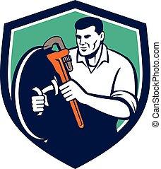 Plumber Brandishing Wrench Shield Retro