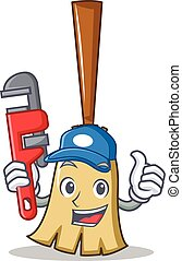 Plumber broom character cartoon style