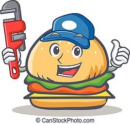Plumber burger character fast food