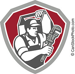 Illustration of a plumber carrying toolbox on shoulder and holding monkey wrench set inside shield facing side done in retro style on isolated background.