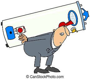 Plumber carrying gas water heater - This illustration...