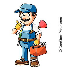 Plumber Cartoon Illustration