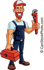 Plumber Cartoon Mascot Vector