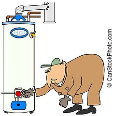 Plumber checking a gas water heater