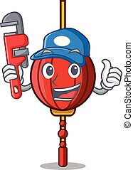 Plumber chinese lantern mascot cartoon