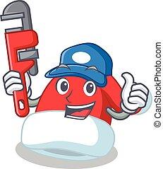 Plumber Christmas hat character cartoon