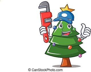 Plumber Christmas tree character cartoon