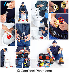 Plumber. Collage - Plumber with a toilet plunger and...
