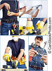 Plumber with contractor tools and details. Worker people.