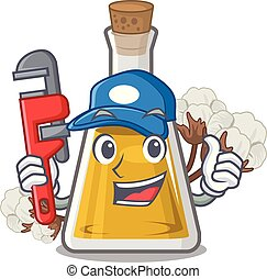 Plumber cottonseed oil at the cartoon table vector ...