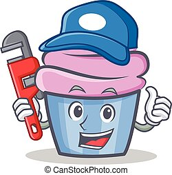 Plumber cupcake character cartoon style