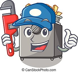 Plumber deep fryer machine isolated on mascot vector...