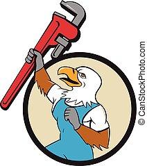 Plumber Eagle Raising Up Pipe Wrench Circle Cartoon -...