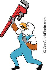 Plumber Eagle Standing Pipe Wrench Cartoon - Illustration of...
