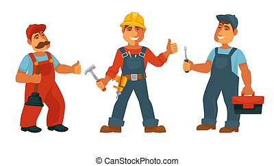 Plumber electrician and repairman isolated technicians in uniform