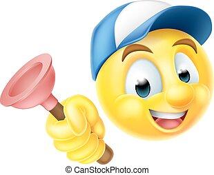 Plumber Emoji Emoticon with Plunger - Cartoon emoji emoticon...