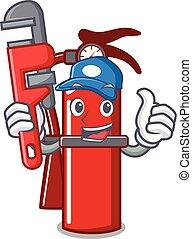 Plumber fire extinguisher mascot cartoon
