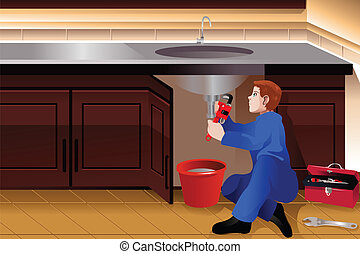 Plumber fixing a leaky faucet - A vector illustration of...