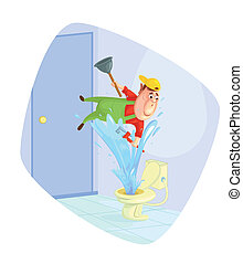 Plumber fixing toilet - illustration of plumber fixing...