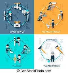 Plumber Flat Set - Plumber services design concept set with...