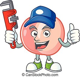 Plumber fruit peach fresh character with mascot