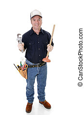 Plumber Full View - Plumber with his tools. Full body...