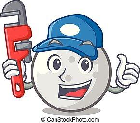 Plumber golf ball mascot cartoon
