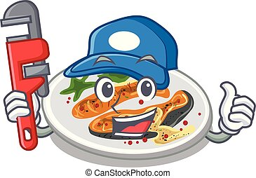 Plumber grilled salmon on a cartoon plate