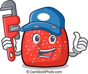Plumber gumdrop mascot cartoon style vector illustration