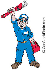 Plumber Guy - Cartoon image of a plumber holding a plumbers...