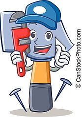Plumber hammer character cartoon emoticon