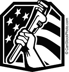 plumber-hand-clutching-pipe-wrench-usa-flag-crest_bw-cut