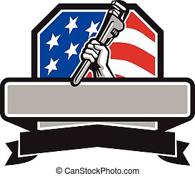 Plumber Hand Holding Pipe Wrench USA Flag Crest Retro -...