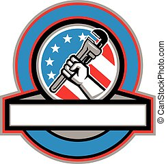 Plumber Hand Pipe Wrench USA Flag Circle - Illustration of a...