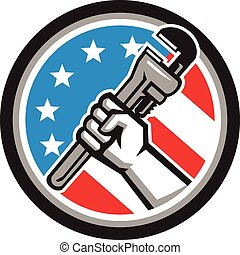 Plumber Hand Pipe Wrench USA Flag Side Angled Circle -...