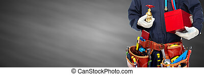 Plumber hands with tools. - Plumber hands with construction ...