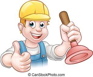 Plumber Handyman Holding Plunger