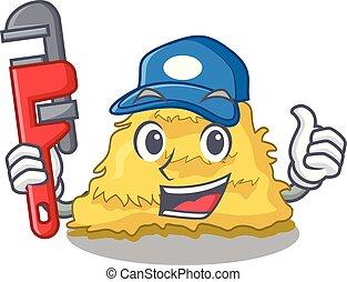 Plumber hay bale mascot cartoon vector illustration