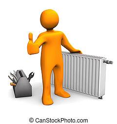 Plumber Heater Ok - Orange cartoon character with radiator...