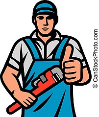 Plumber holding a wrench and showing thumbs up (plumbing services design)