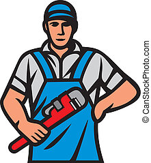 plumber holding a wrench (plumber holding monkey wrench, ...