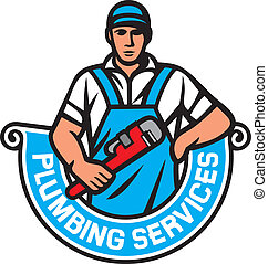 plumber holding a wrench - plumbing services, plumber holding monkey wrench, plumber worker, repair plumbing label